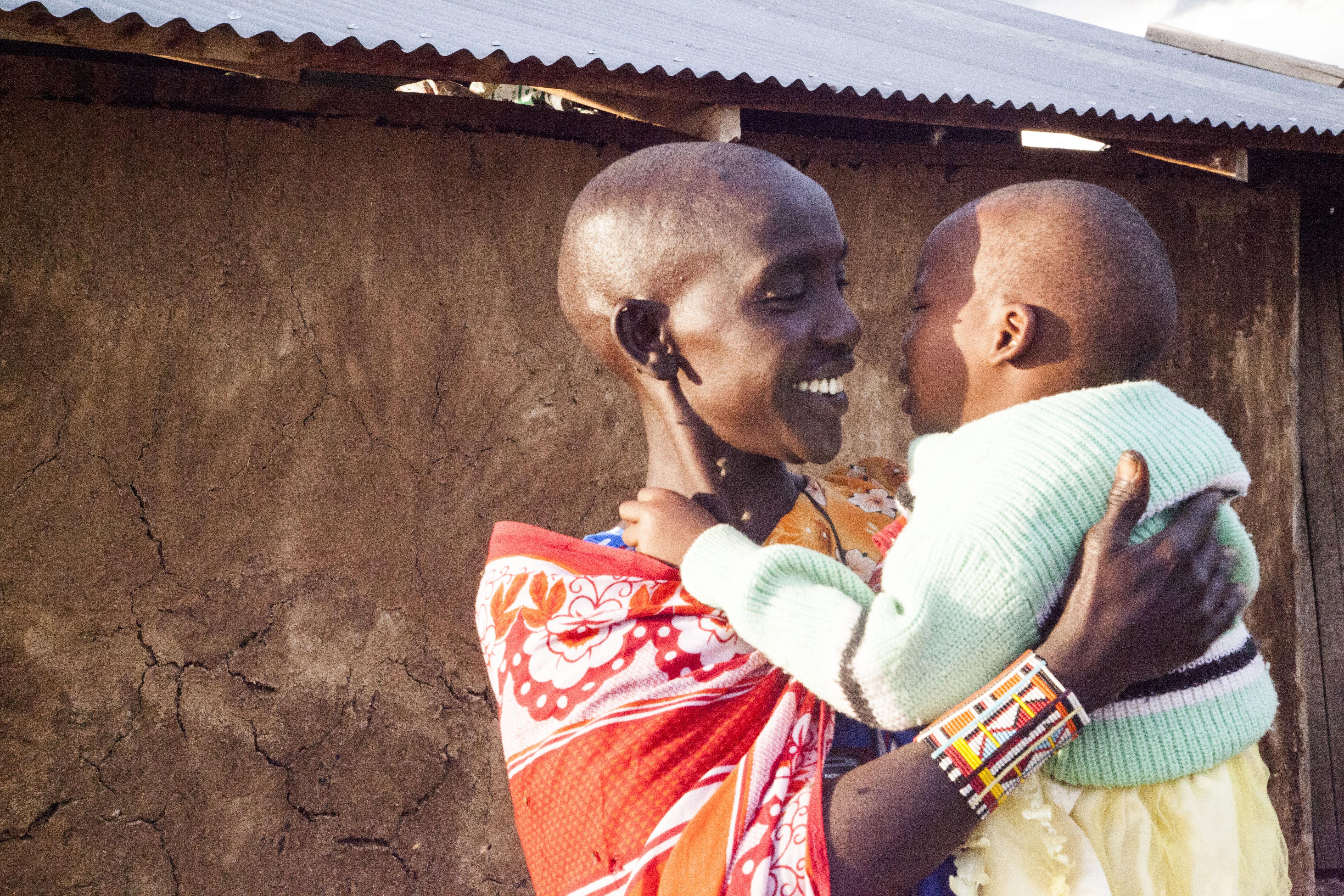 Maasai mom and child